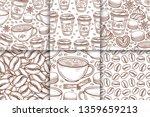 coffee cups  beans  mugs ... | Shutterstock .eps vector #1359659213