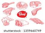 beef meat set | Shutterstock .eps vector #1359660749