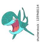 funny shark isolated on white... | Shutterstock .eps vector #135968114