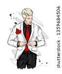handsome man in a jacket  shirt ... | Shutterstock .eps vector #1359684506