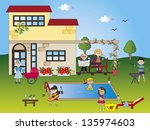 illustration of holiday house... | Shutterstock . vector #135974603
