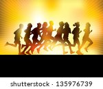 crowd of young people running.... | Shutterstock .eps vector #135976739