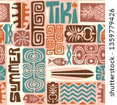 seamless exotic tiki pattern.... | Shutterstock . vector #1359779426