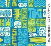 seamless exotic tiki pattern.... | Shutterstock .eps vector #1359779429
