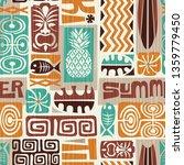 seamless exotic tiki pattern.... | Shutterstock .eps vector #1359779450