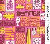 seamless exotic tiki pattern.... | Shutterstock .eps vector #1359779453