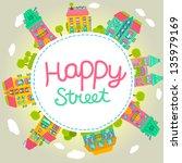 cute cartoon house banner....   Shutterstock .eps vector #135979169