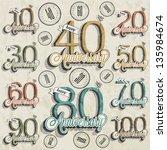 retro vintage style anniversary ... | Shutterstock .eps vector #135984674