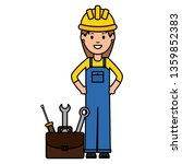female builder worker with... | Shutterstock .eps vector #1359852383