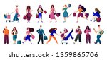 man and woman  with bags doing... | Shutterstock .eps vector #1359865706