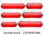 red glass 3d buttons. oval... | Shutterstock . vector #1359891086