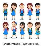 student characters vector set.... | Shutterstock .eps vector #1359891203