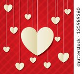 paper hearts red background.... | Shutterstock .eps vector #135989360