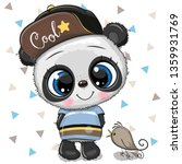 cute cartoon baby panda in a... | Shutterstock .eps vector #1359931769