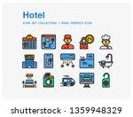 hotel icons set. ui pixel...