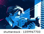 detective with photo camera... | Shutterstock .eps vector #1359967703