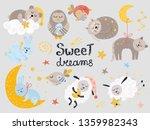 vector set of cute sleeping...   Shutterstock .eps vector #1359982343