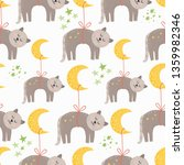 seamless pattern with sleeping...   Shutterstock .eps vector #1359982346