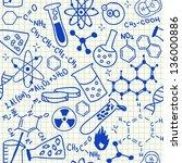 chemical doodles on school...   Shutterstock .eps vector #136000886