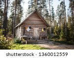 Small photo of Forest warden's hut (forest lodge, small house of Forester) in the old pinery (taiga, boreal forest) in vintage style