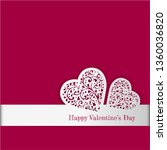 valentine's day card with paper ... | Shutterstock . vector #1360036820
