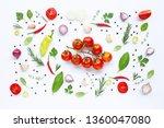 various fresh vegetables and... | Shutterstock . vector #1360047080