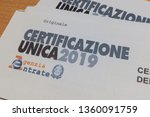 """Small photo of Italy - 4/5/2019: The """"Certificazione Unica"""" or """"Modello CU"""", in Italy is the cumulative attestation of the income of self-employment, employee and pension. 2019 version."""