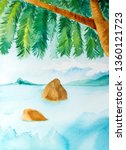 watercolor hand drawn tropical... | Shutterstock . vector #1360121723