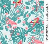 pink flamingo seamless pattern... | Shutterstock .eps vector #1360123376