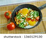 chickpea breakfast hash with... | Shutterstock . vector #1360129130