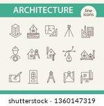 architecture line icon set.... | Shutterstock .eps vector #1360147319