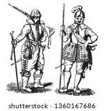 Pikemen from the Time of James I taken from a broadside held by the Society of Antiquaries at the turn of the twentieth, vintage line drawing or engraving illustration.