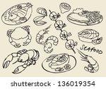 vector seafood doodle set | Shutterstock .eps vector #136019354