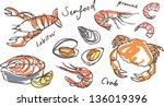 Vector Seafood Drawing Set
