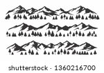Mountains silhouettes on isolated background. set of hand drawn landscape mountain with silhouette pine trees. - Vector - stock vector