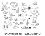 hand drawn  finance chart and... | Shutterstock .eps vector #136025840