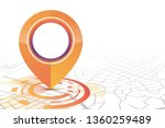 gps icon mock up orange color... | Shutterstock .eps vector #1360259489