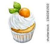 hand drawn cupcake on... | Shutterstock . vector #1360281503