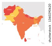 south asia region. map of... | Shutterstock .eps vector #1360290620
