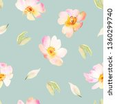 floral watercolor seamless... | Shutterstock . vector #1360299740