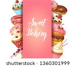 sweet bakery background frame... | Shutterstock .eps vector #1360301999
