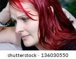 profile of a young woman in an... | Shutterstock . vector #136030550