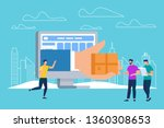 hand giving parcel box through... | Shutterstock .eps vector #1360308653