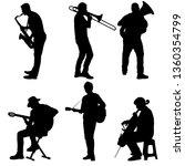 silhouettes street musicians... | Shutterstock . vector #1360354799