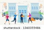 workers bring bricks by van car ...   Shutterstock .eps vector #1360355486