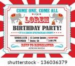 circus happy birthday card... | Shutterstock .eps vector #136036379