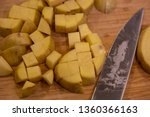 potatoes chopped chunks cutting ... | Shutterstock . vector #1360366163