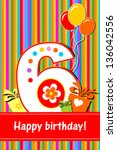 happy birthday card.... | Shutterstock .eps vector #136042556