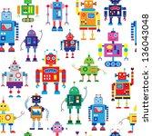 robots seamless pattern | Shutterstock .eps vector #136043048