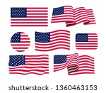 set of american flag. icon.... | Shutterstock .eps vector #1360463153